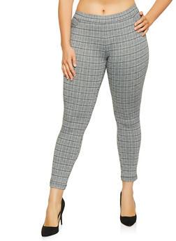 Plus Size Pull On Plaid Pants - 1928068193858