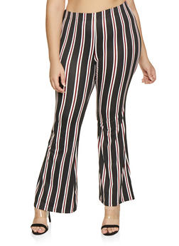 Plus Size Striped Flared Pants - 1928068510956