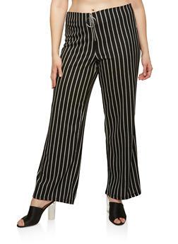 Plus Size Striped Zip Palazzo Pants - 1928068518385