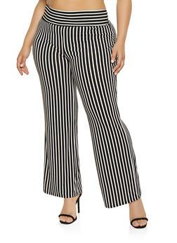 1eca01037238b Plus Size Striped Palazzo Pants