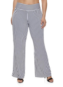 Plus Size Striped Palazzo Pants | 1928069390148 - 1928069390148