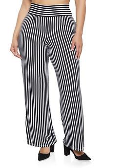 Plus Size Crepe Knit Striped Palazzo Pants - 1928069393047