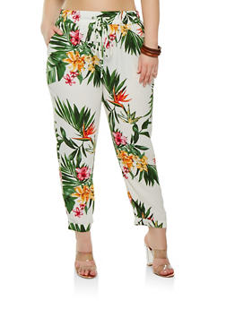 Plus Size Crepe Knit Tropical Print Pants - 1928069396907