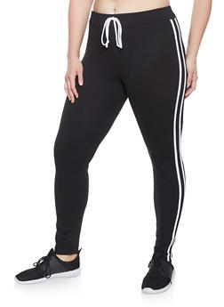 Plus Size Varsity Stripe Faux Drawstring Leggings - 1928072290013