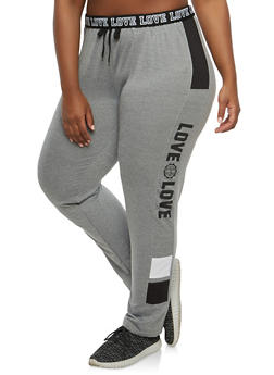 Plus Size Love Graphic Sweatpants - 1928072290075