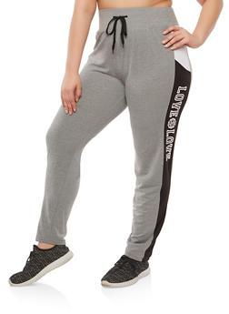 Plus Size Love Graphic Sweatpants - 1928072290102