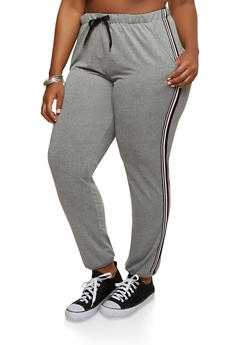 Plus Size Side Stripe Sweatpants - 1928072290110