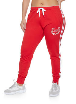 Plus Size Love Graphic Varsity Stripe Joggers - 1928072290169