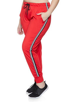 650eef1bf35 Plus Size Striped Tape Trim Sweatpants - 1928072290276