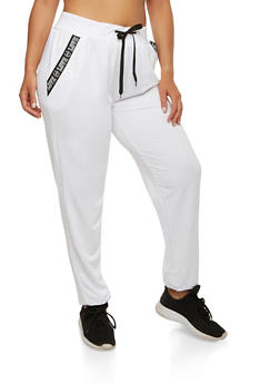 Plus Size Love Graphic Trim Sweatpants - 1928072291111