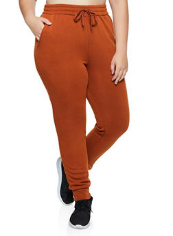 Plus Size Solid Fleece Lined Joggers - 1928072291377