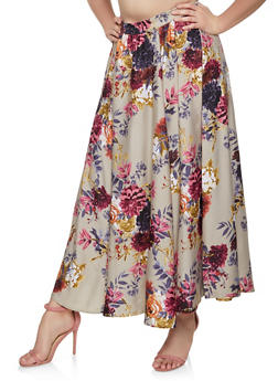 Plus Size Floral Maxi Skater Skirt - 1929056127014