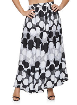 Plus Size Polka Dot Maxi Skater Skirt - 1929056127019