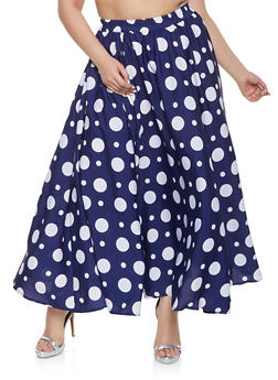 Plus Size Polka Dot Maxi Skater Skirt - 1929056127022