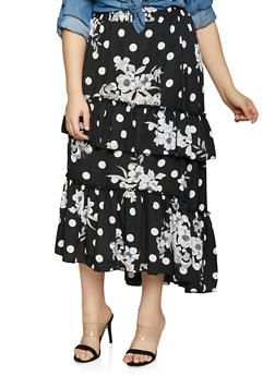 Plus Size Printed Tiered Maxi Skirt - 1929056127037