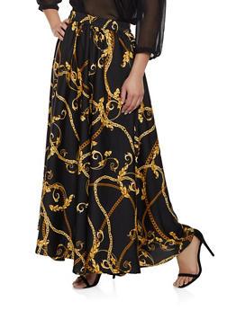 Plus Size Chain Print Maxi Skirt - 1929056127048