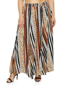 Plus Size Striped Leopard Print Maxi Skirt - 1929056127050