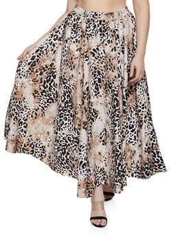 Plus Size Leopard Maxi Skater Skirt - 1929056127051