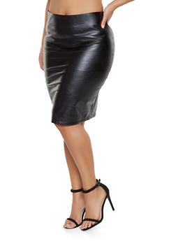 Plus Size Faux Leather Pencil Skirt - 1929068190125
