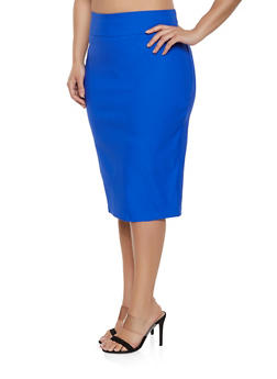 Plus Size Stretch Pencil Skirt - 1929068514315