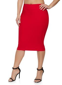 Plus Size Stretch Pencil Skirt - 1929068514315