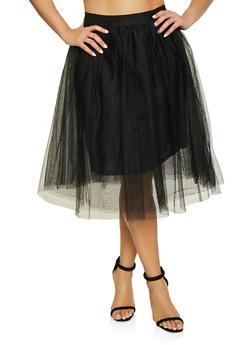 Plus Size Lined Tulle Skater Skirt - 1929069390000