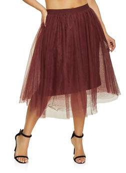 Plus Size Lined Tulle Skater Skirt - 1929069390000