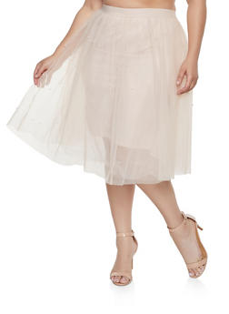 Plus Size Faux Pearl Studded Tulle Skirt - 1929069390222