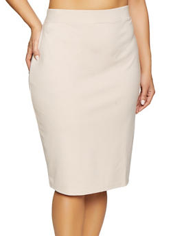 Plus Size Ponte Pencil Skirt - 1929069391009