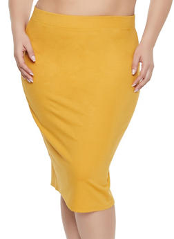 Plus Size Ponte Pencil Skirt - 1929069391009