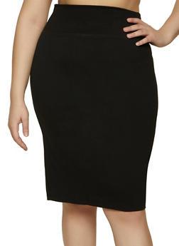 Plus Size Midi Ponte Pencil Skirt - 1929069391010
