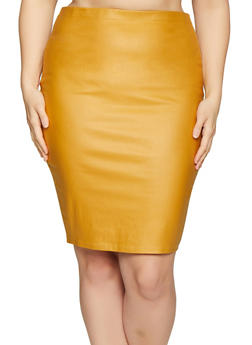 Plus Size Coated Pencil Skirt - 1929069391052