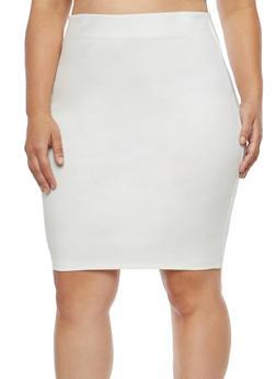 Plus Size Ponte Pencil Skirt - 1929069391070