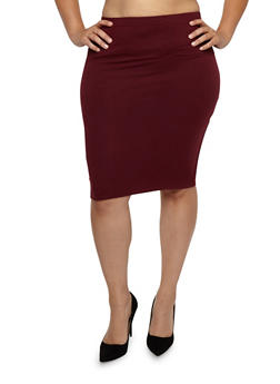 Plus Size Soft Knit Pencil Skirt - BURGUNDY - 1929069391111