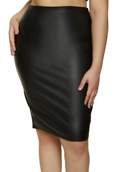Plus Size Midi Coated Pencil Skirt - 1929069391510