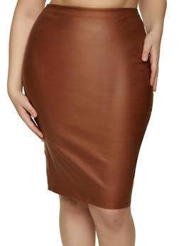 Plus Size Midi Coated Pencil Skirt - 1929069391510