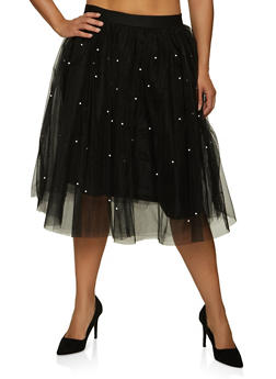 Plus Size Faux Pearl Studded Tulle Skater Skirt - 1929069392220