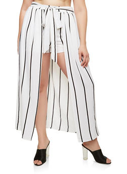 Plus Size Striped Shorts with Maxi Skirt Overlay - 1929069393121