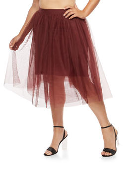 Plus Size Tulle Skater Skirt - 1929069394000