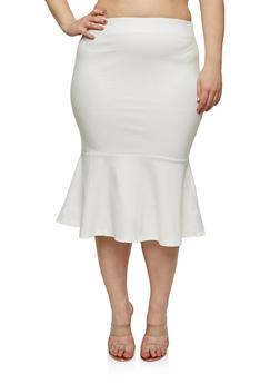 Plus Size Ponte Flounce Hem Pencil Skirt - 1929069394010
