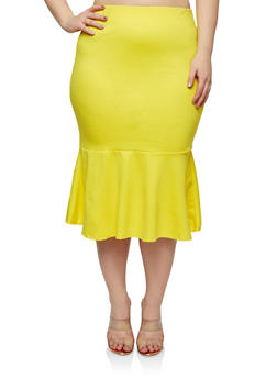 Plus Size Ponte Flounce Hem Pencil Skirt - 1929069394010
