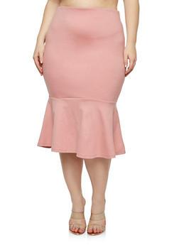 e58d3d7e76d Plus Size Ponte Flounce Hem Pencil Skirt - 1929069394010
