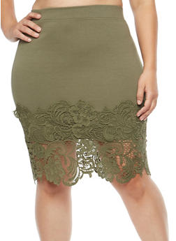 Plus Size Crochet Trim Midi Skirt - 1929069394033