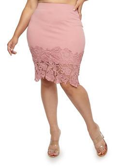 Plus Size Crochet Trim Midi Skirt - 1929069394033