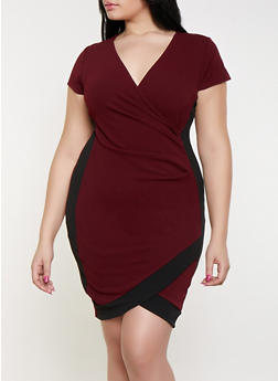Plus Size Contrast Trim Faux Wrap Dress - 1930015990094