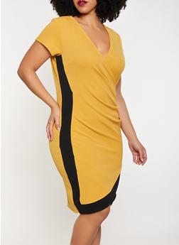 Plus Size Contrast Trim Faux Wrap Dress - 1930015990094
