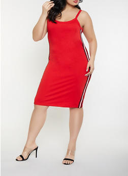 Plus Size Striped Tape Bodycon Dress - 1930015990359