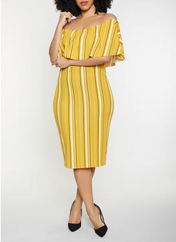 Plus Size Striped Off the Shoulder Dress - 1930015990504