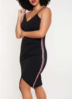 Plus Size Tape Trim Faux Wrap Dress - 1930015990606