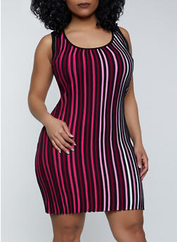 Plus Size Striped Ribbed Knit Midi Dress - 1930015990719